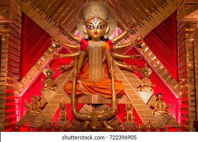 Kolkata, India, September 24,2017: Goddess Durga in close up retro look at a Durga Puja in Kolkata.