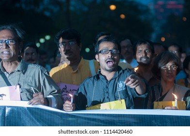 KOLKATA- MARCH  1: People chanting slogans during a rally to condemn the killing of  Bangladeshi blogger Avijit Roy by radical Islamist groups on 1st March in Kolkata, India.