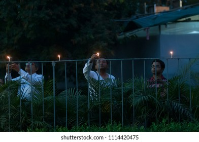 KOLKATA- MARCH  1: People lighting candles during a rally to condemn the killing of  Bangladeshi blogger Avijit Roy by radical Islamist groups on 1st March in Kolkata, India.