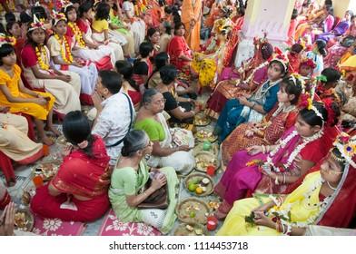 KOLKATA- MARCH  27: People worshiping girls as goddess during Kumari (young unmarried Hindu girl) Puja festival in Adyapith near Kolkata on 27th March, 2015.