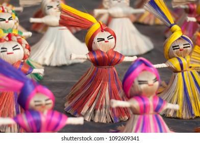 KOLKATA- NOVEMBER 26: Dolls made up of threads on display during the Handicraft Fair on 26th November, 2014 in Kolkata, India