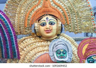 KOLKATA- NOVEMBER 26:Faces of Indian Gods and Goddess on display  during the Handicraft Fair on 26th November, 2014 in Kolkata, India