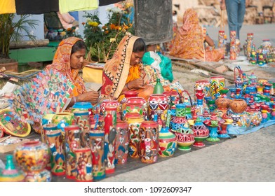 KOLKATA- NOVEMBER 26:Women artisans selling their creations during the Handicraft Fair on 26th November, 2014 in Kolkata, India