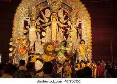 KOLKATA - OCT 17 : Pandal of Durga Puja festival, Durga Idol - Durga puja Navrata, West Bengal, India on October 17, 2010 in Kolkata, India.