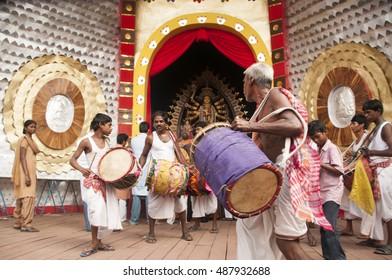 KOLKATA - OCT 17 : Unidentified Hindu  Devotee at pandal of Durga Puja festival, Durga Idol - Durga puja Navrata, West Bengal, India on October 17, 2010 in Kolkata, India.
