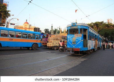 KOLKATA - OCTOBER 20: A tram pass through the crowded streets of Kolkata on October 20, 2010 in Kolkata, India. Kolkata is the only city in India having tram transportation network.