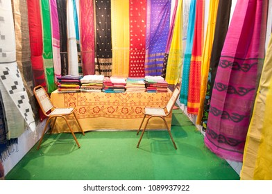 "KOLKATA - SEPTEMBER 26: An empty stall displaying sarees during  the ""Tant"" saree Fair - A traditional Bengali saree  made in West Bengal and Bangladesh on September 26 2014 in Kolkata, India."