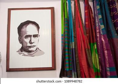 """KOLKATA - SEPTEMBER 26: Image of bengali Ishwar Chandra Vidyasagar-and a key figure of the Bengal Renaissance   during the """"Tant"""" Saree Fair - on September 26 2014 in Kolkata, Indi"""