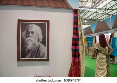 "KOLKATA - SEPTEMBER 26: Image of Rabindranath Tagore- A bengali Nobel Laureate  during the ""Tant"" Saree Fair -  on September 26 2014 in Kolkata, India."