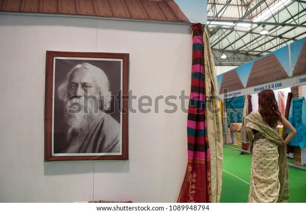 "KOLKATA - SEPTEMBER 26: Image of Rabindranath Tagore- A bengali Nobel Laureate  during the ""Tant"" Saree Fair -  on September 26 2014 in Kolkata, India."