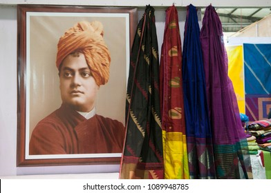 "KOLKATA - SEPTEMBER 26: Image of Swami Vivekananda- An Indian Hindu monk during the ""Tant"" Saree Fair -  on September 26 2014 in Kolkata, India."