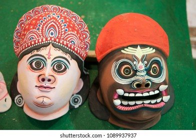 "KOLKATA - SEPTEMBER 26: Masks of Indian gods and goddesses during  the ""Tant"" saree Fair - A traditional Bengali saree  made in West Bengal and Bangladesh on September 26 2014 in Kolkata, India."