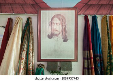 "KOLKATA -SEPTEMBER 26: Photo of Nobel Laureate Rabindranath Tagore during  the ""Tant"" saree Fair - A traditional Bengali saree  made in West Bengal and Bangladesh on September 26 2014 in Kolkata,India"