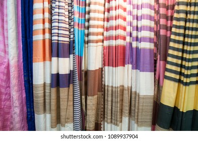"KOLKATA - SEPTEMBER 26: Tantt sarees on display during  the ""Tant"" saree Fair - A traditional Bengali saree  made in West Bengal and Bangladesh on September 26 2014 in Kolkata, India."