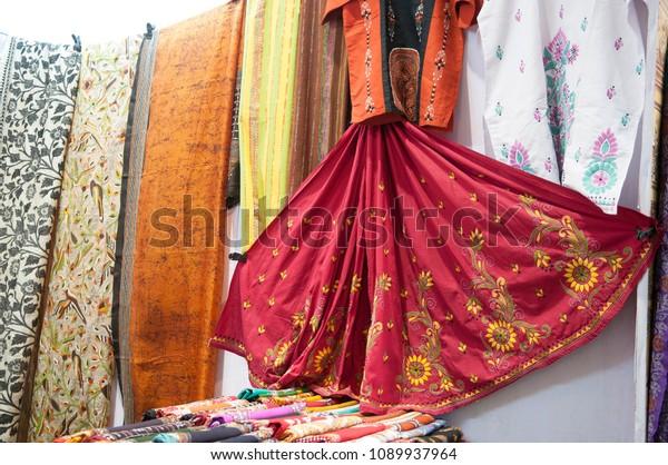"KOLKATA - SEPTEMBER 26: Tantt sarees on display during  the ""Tant"" saree Fair - A traditional Bengali saree  made in West Bengal and Bangladesh on September 26 2014 in Kolkata, India."