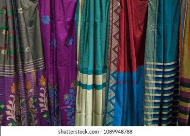 "KOLKATA - SEPTEMBER 26: Texture of sarees  during the ""Tant"" Saree Fair - A traditional Bengali spree made in West Bengal and Bangladesh on September 26 2014 in Kolkata, India."