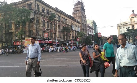 KOLKATA, WEST BENGAL, INDIA - 15 APRIL, 2017: A busy crowded street.