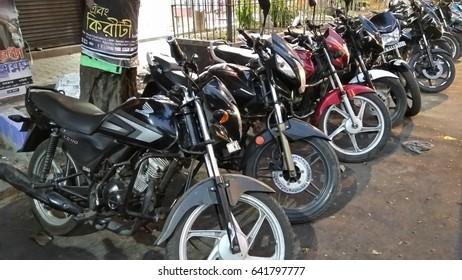 KOLKATA, WEST BENGAL, INDIA - 16 APRIL, 2017: Bikes are standing at street.
