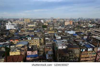 Kolkata, West Bengal, India - 1st July 2017:  The skyline of the city Kolkata or Calcutta  with the blue sky on the backdrop looks like a concrete jungle.