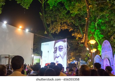 KOLKATA, WEST BENGAL , INDIA - 9TH MAY 2017 : Picture of Rabindra Nath Tagore seen in a giant screen , at Rabindra Jayanti celebration (birthday of Late Nobel winner Poet Rabindranath Tagore).