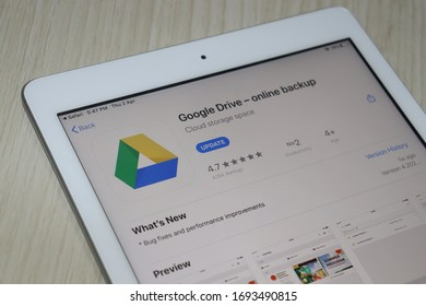 Kolkata, West Bengal, India April 5, 2020: Google Drive Application logo show on latest iPad