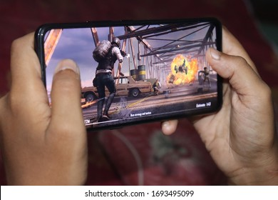 Kolkata, West Bengal, India April 5, 2020: Pubg Mobile Battle War Games Playing on Android mobile