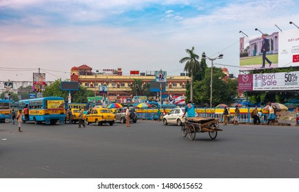 Kolkata, West Bengal/ India - August 11,2019. An exterior view of Howrah Station building with City Traffic.