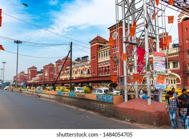 Kolkata, West Bengal/ India - August 11,2019.  Exterior view  of Howrah Railway Station at Early morning.