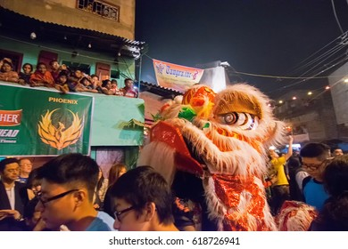 KOLKATA, WEST BENGAL , INDIA - FEBRUARY 7TH 2016: Celebration of Chinese new year at China Town , Kolkata with Chinese red dragon . It is the year of the monkey as per chinese calender.