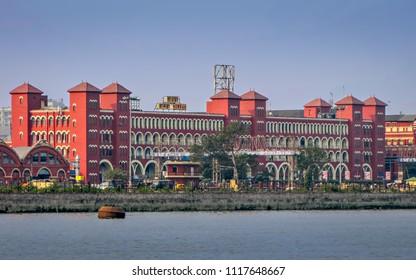 Kolkata, West Bengal, India - January 28, 2012 : Howrah(Kolkata) Railway station building across Hooghly river.