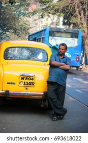 Kolkata, West Bengal, India, January, 2017, Taxi driver waiting for the next customer