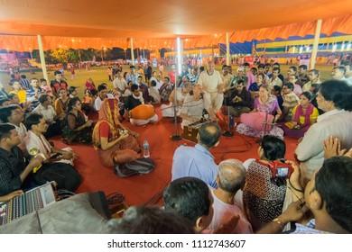 KOLKATA, WEST BENGAL , INDIA - JULY 2ND 2017 : Devotees singing with music for celebration of Iskcon Rath jatra festival.