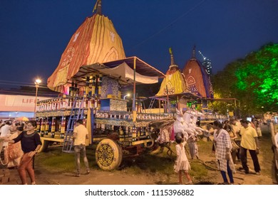 KOLKATA, WEST BENGAL , INDIA - JULY 2ND 2017 : Rath (chariot) of God Jagannath, Balaram and Goddess Suvadra at Kolkata Maidan area . Iskcon rath jatra festival.
