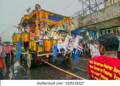 KOLKATA, WEST BENGAL , INDIA - JUNE 29TH 2014 : Rath (chariot) of God Jagannath, Balaram and Goddess Suvadra as ritual. Iskcon rath jatra festival.