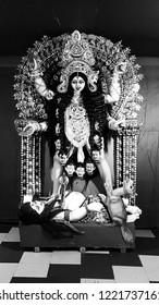 Kolkata, West bengal, India - November 5 2018: Goddess Kali is a hindu GOD who was considered as power created by shiva, vishnu and maheswar to destroy demon. she killed the demon on a no moon night.