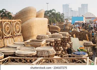 KOLKATA, WEST BENGAL , INDIA - NOVEMBER 23RD 2014 : Cane furnitures , handicrafts on display during the Handicraft Fair in Kolkata - the biggest handicrafts fair in Asia.