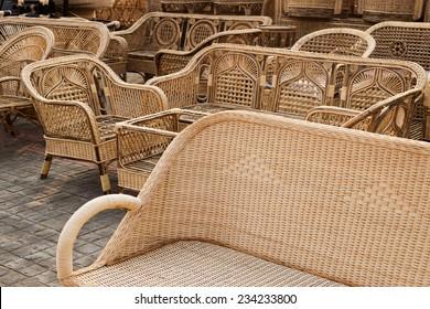KOLKATA, WEST BENGAL , INDIA - NOVEMBER 23RD 2014 : Cane furniture, handicrafts on display during the Handicraft Fair in Kolkata - the biggest handicrafts fair in Asia.