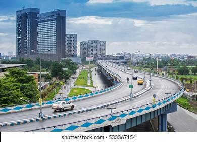 KOLKATA, WEST BENGAL , INDIA - SEPTEMBER 24TH 2016 : Parama Island flyover, popularly known as Ma or Maa flyover is a 4.5 kilometer long flyover in Kolkata.. From Alipore to E.M. Bypass of Kolkata.