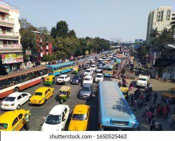 Kolkata, West Bengal/India - February 03, 2020: City traffic display with selective focus from top at 'Ultadanga', 'Bidhannagar' Kolkata.