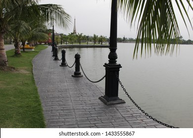 Kolkata, West Bengal/India - June 20, 2019: Empty waterside large park for public recreation at 'Eco Park', Newtown.