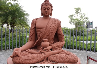 Kolkata, West Bengal/India - June 20, 2019: Famous religious leader 'Gautama Buddha' sculpture display under bright day light at 'Eco Park', Newtown.