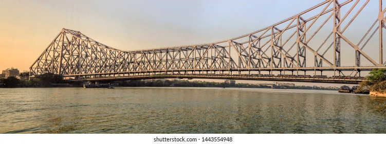 Kolkata,18, March: 2013 : Panoramic view of Howrah Bridge ,Rabindra Setu  ,one of the biggest Cantilever bridges made with steel over Hoogly River, Kolkata, West Bengal, India, Asia