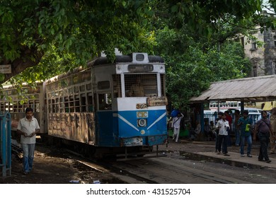 KOLKATA,INDIA - 21 May 2016 :The Kolkata tram is currently the only operating tram network in India and the oldest operating electric tram in Asia, running since 1902.