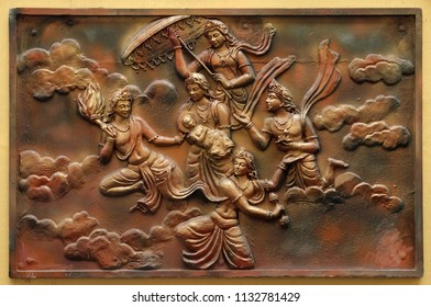 KOLKATA,INDIA - FEBRUARY 09: Janmakalyanaka: Birth celebration of Indra carrying Bhagavan to Mount Meru(Incident-2), relief on the wall of Jain Temple (also called Parshwanath Temple) in Kolkata.