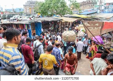 Kolkata,West Bengal /India - April 21,2018 : Crowed Indian people lifestyle at local market around Sealdah train station.