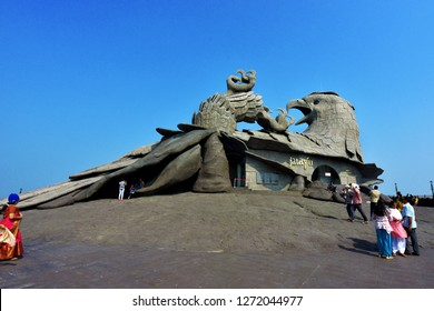 KOLLAM, KERALA, INDIA, DECEMBER 30, 2018: Tourists at the Jatayu Earth's Center. The huge statue of the fallen eagle Jatayu who tried in vain to rescue abducted Sita from Ravana's flight.