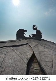 KOLLAM, KERALA, INDIA, DECEMBER 30, 2018: Jatayu Earth's Center. Silhouette of the huge statue of the fallen eagle Jatayu who tried in vain to rescue abducted Sita from Ravana's airship.