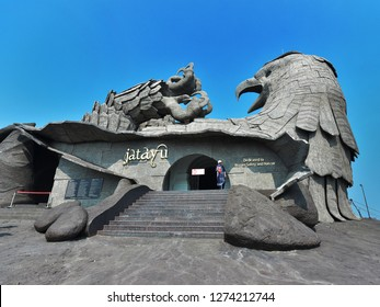 KOLLAM, KERALA, INDIA, DECEMBER 30, 2018: Jatayu Earth's Center, Jatayu Nature Park. The huge statue of the fallen eagle Jatayu who tried in vain to rescue abducted Sita from Ravana's airship.