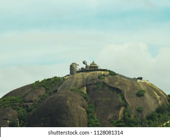 KOLLAM, KERALA, INDIA, JULY  02, 2018:  Final stage of Jatayu Nature Park at Chadayamangalam. World's largest bird sculpture. Jatayu, the mythical bird from Ramayana, tried to rescue Sita from Ravana.