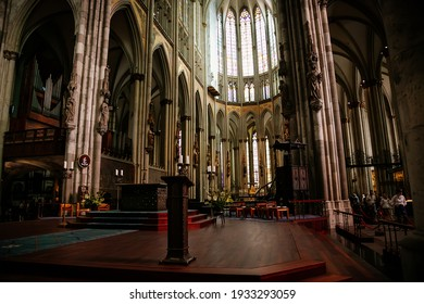 Kolner Dom, Cologne Cathedral Interior, Stained Glass Windows, Roman Catholic gothic church, Details of the sculptures, Nave altar part, ceiling, Rib vault, columns, Cologne, Germany, July 05, 2019